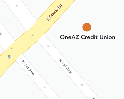 Map of OneAZ Oro Valley Branch