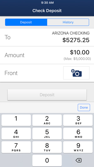 Step 4: Select the account you would like to deposit the check in, and enter the exact amount listed on the check